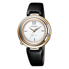 CITIZEN L 光動能晶鑽圓環腕錶-金X黑皮帶-EM0656-15A-32mm