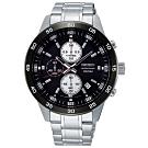 SEIKO精工   都會商務菁英三眼計時石英腕錶(SKS647P1)-黑x44mm
