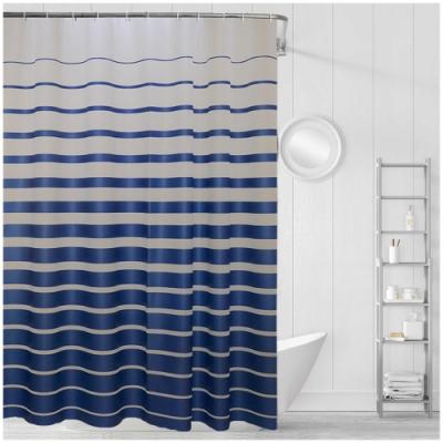 日創優品 海之巔防水防潮抗汙EVA加厚浴簾 180x200cm (藍色條紋)