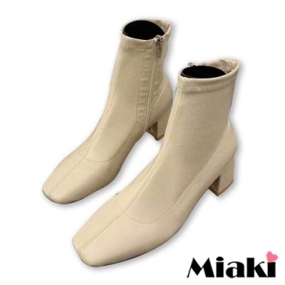 Miaki-短靴時尚韓流方頭拉鍊踝靴-米