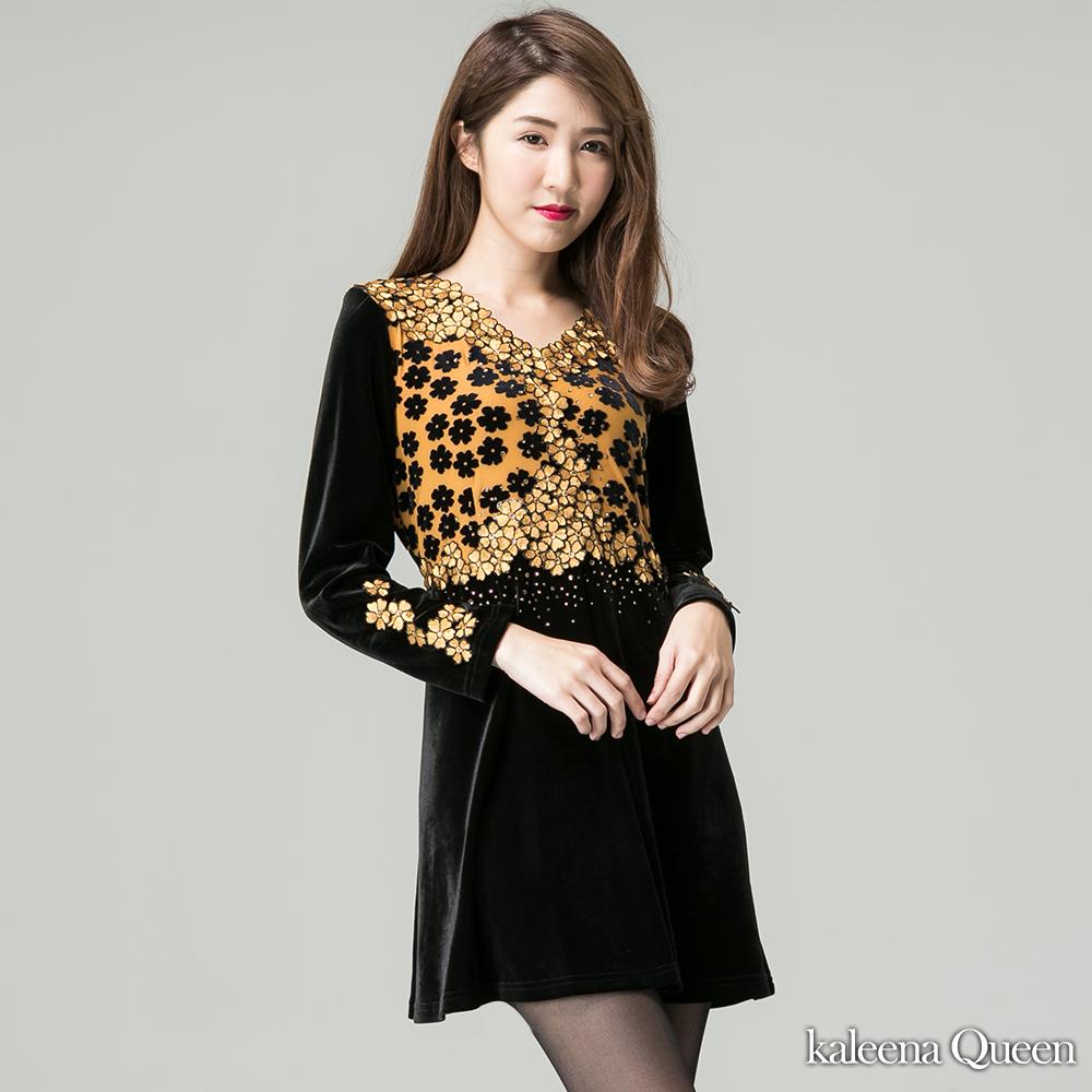 KaleenaQueen 雍容華貴亮鑽絲絨晚宴洋裝-黃
