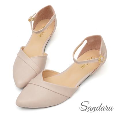 山打努SANDARU-法式尖頭壓折繞踝低跟鞋-米