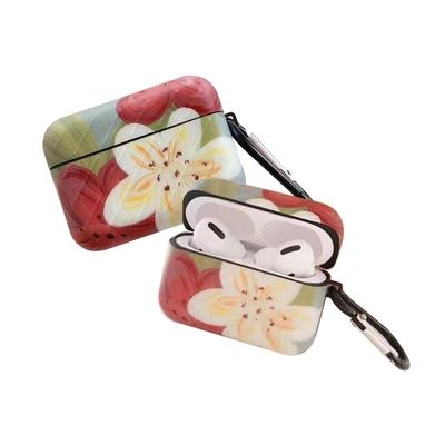 AirPodsPro 保護套 油畫 紅白花朵 藍牙耳機保護套