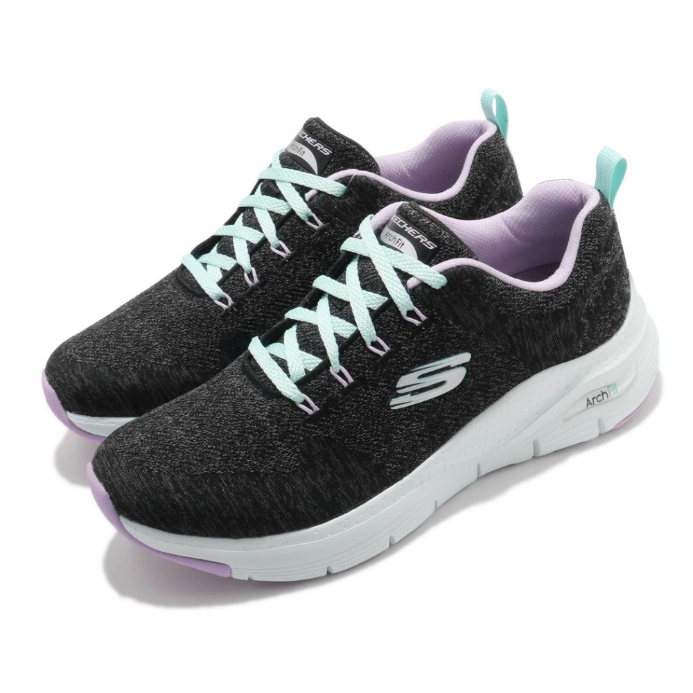 Skechers 休閒鞋 Arch Fit-Comfy Wave 女鞋 寬楦 足科醫生推薦鞋墊 專利 緩震 回彈 黑 紫 149414WBKLV