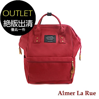 Aimer La Rue 大開口帆布後背包(紅色)(絕版出清)