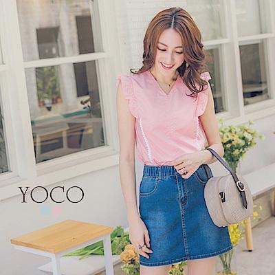 東京著衣-yoco 糖果女孩V領荷葉邊無袖上衣-XS.S.M(共二色)