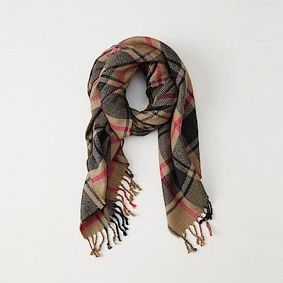 A&F 經典格紋舒適保暖圍巾-駝黑色 AF Abercrombie