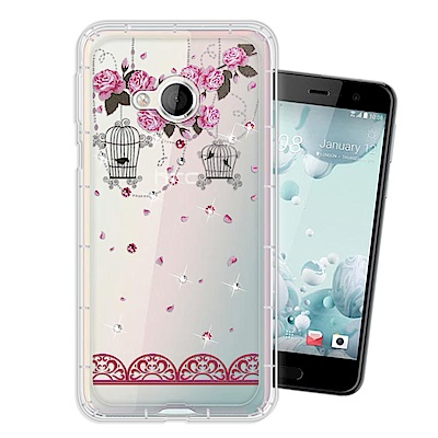 HTC U Play 奧地利水晶彩繪空壓手機殼(璀璨蕾絲)