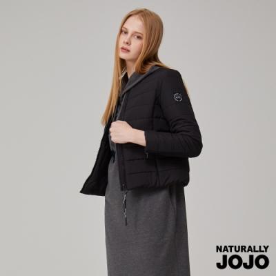NATURALLY JOJO 飛行領壓紋鋪棉夾克(黑)