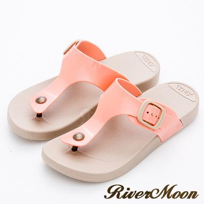 River&Moon拖鞋-休閒百搭Q軟防水夾腳涼拖鞋-玫紅
