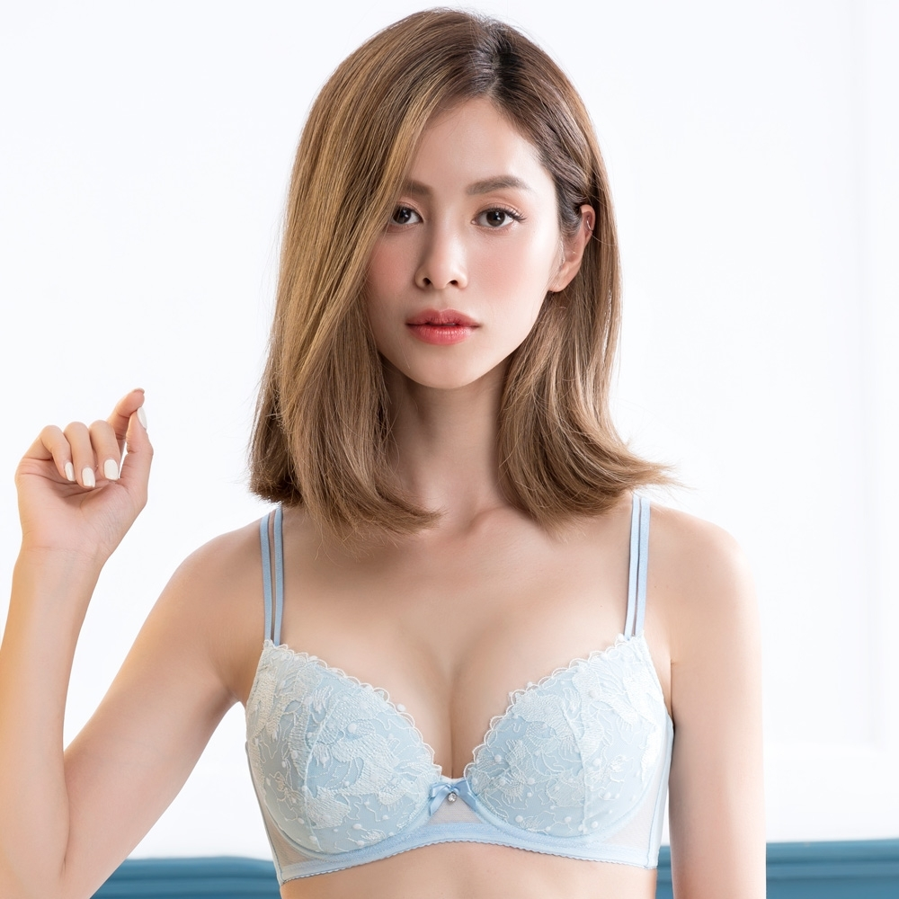 莎薇-俏皮好愛現 D 罩杯內衣(藍)刺繡蕾絲