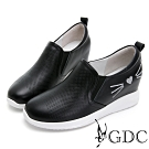 GDC-真皮俏皮貓水鑽沖孔舒飾內增高素色休閒鞋-黑色