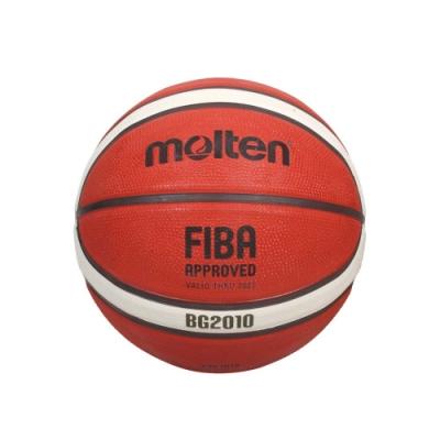 MOLTEN 12片橡膠深溝籃球#5-戶外 室外 訓練 5號球 B5G2010 橘米白黑