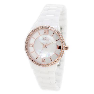 NATURALLY JOJO浪漫晶鑽珍珠貝陶瓷腕錶-白X玫瑰金(JO96929-81R)
