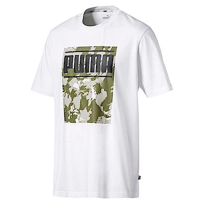 PUMA-男性基本系列Camo短袖T恤-白色-歐規