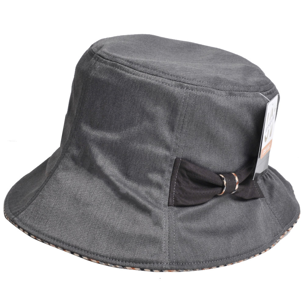 DAKS 抗UV科技纖維字母格紋滾邊蝴蝶結漁夫帽(黑灰)