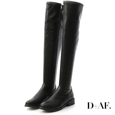 D+AF 微辣焦點.激瘦剪裁美腿膝上長靴*黑