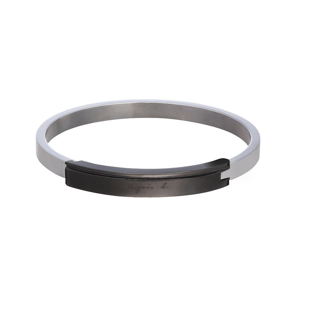 agnes b. 黑色鐵牌男性手環