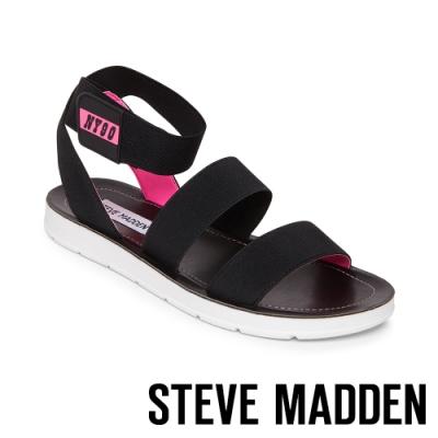 STEVE MADDEN-HENLEY 玩彩撞色NY90交叉束帶平底涼鞋-粉黑