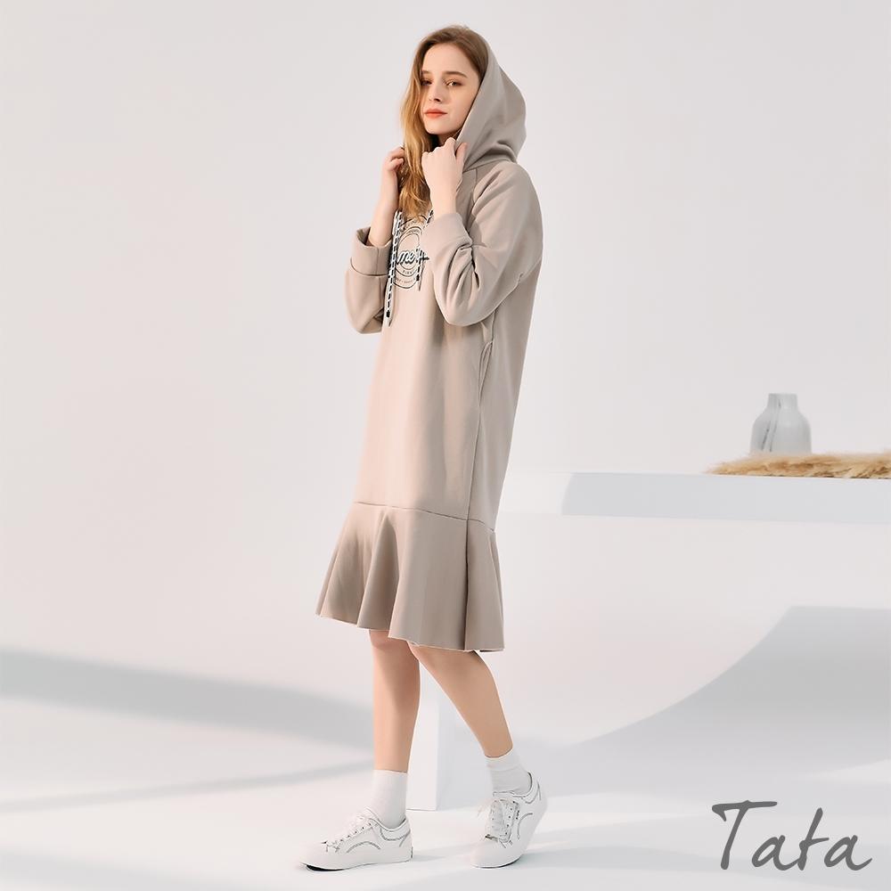 印花魚尾繫帶連帽刷絨洋裝 共二色 TATA-(M~XL)