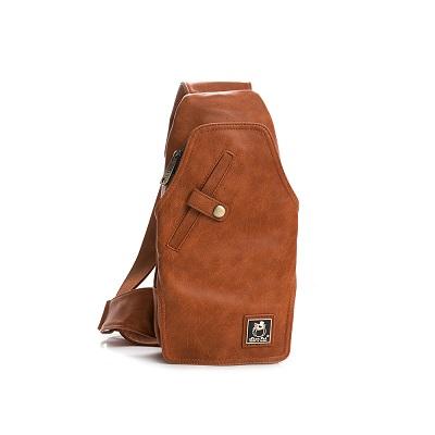 SharPei沙皮狗-城市漫遊x多夾層單肩胸包-拿鐵棕
