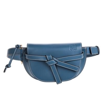 LOEWE 新款mini Gate 滑面牛皮胸背/腰包 (鋼藍色)