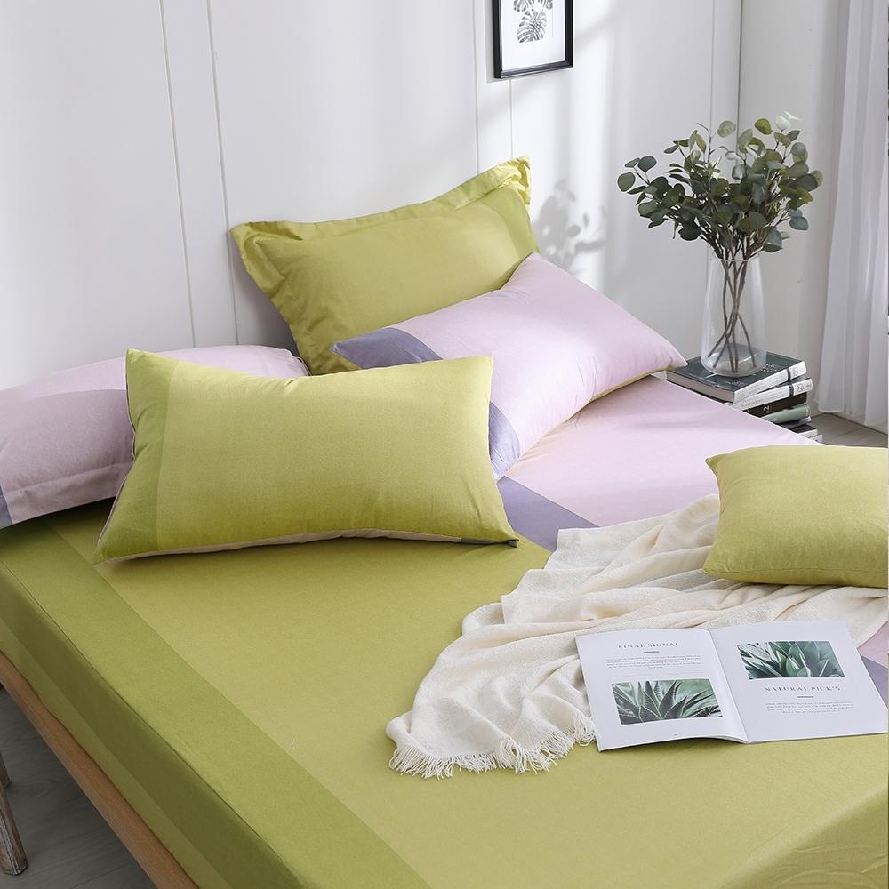 OLIVIA  羅伯特 綠X粉 標準雙人床包美式枕套三件組 200織精梳純棉 台灣製