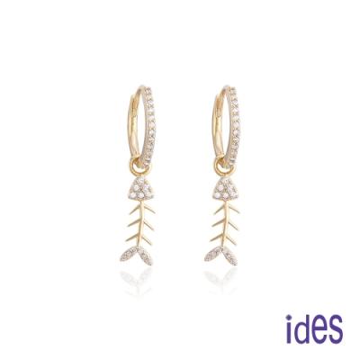 ides愛蒂思 日韓時尚設計純銀晶鑽耳環/時尚魚骨