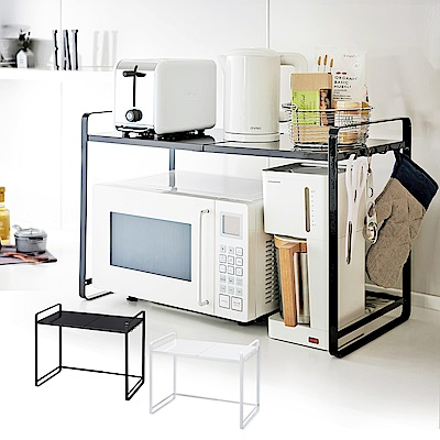YAMAZAK tower伸縮式微波爐架(黑)★碗盤架/置物架/收納架/廚房收納