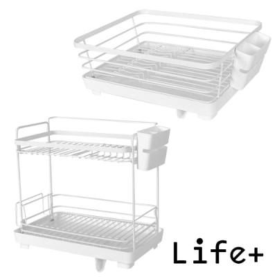 Life Plus 純白風尚 不鏽鋼碗盤餐具收納瀝水架_附排水導管 (單層+雙層)_2件組
