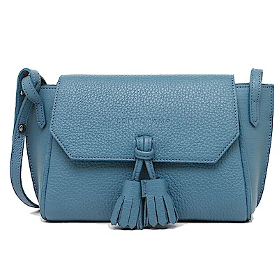 LONGCHAMP Penelope Soft 系列 流蘇飾小牛皮斜背包(機師藍)