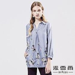 【麥雪爾】棉麻襯衫領刺繡花卉上衣