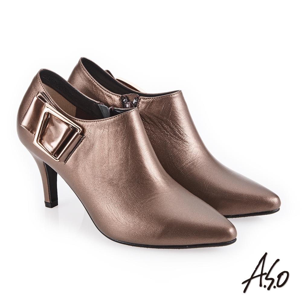A.S.O 都會時尚 鏡面牛皮微尖楦高跟踝靴 古銅