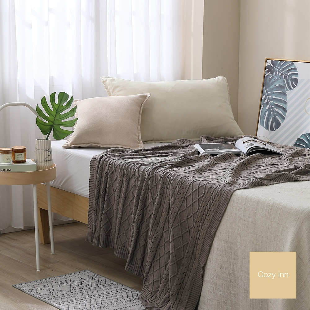 Cozy inn 北歐風菱格麻花針織萬用蓋毯-暖灰