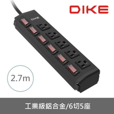 DIKE 工業級鋁合金六開五座電源延長線-2.7M DAH259BK