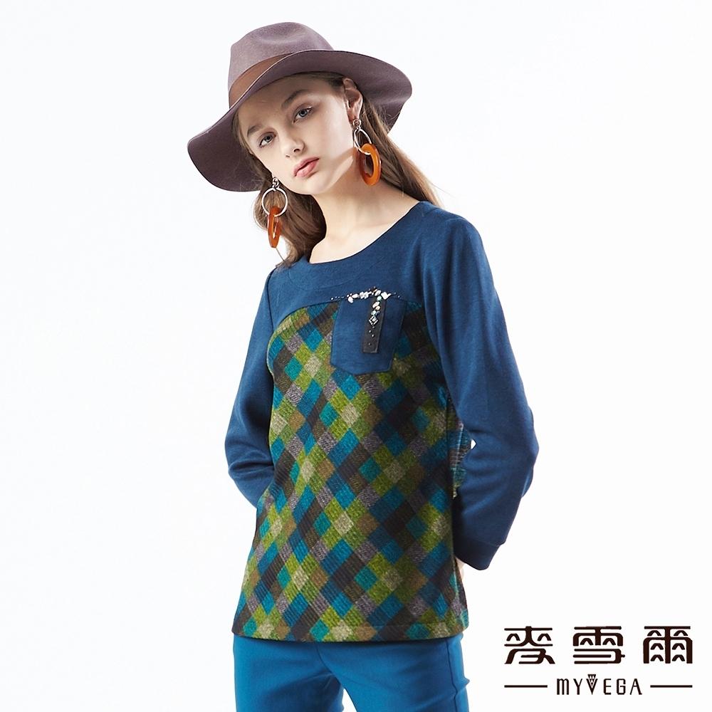 【麥雪爾】格紋拼接水鑽七分袖上衣
