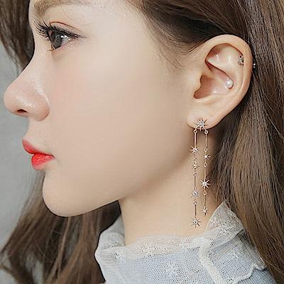 梨花HaNA 韓國925銀針太陽晶緻流蘇光芒點綴耳環