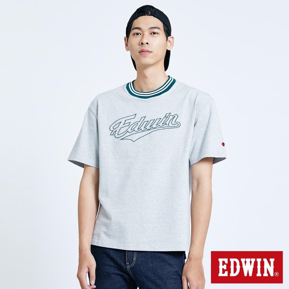 EDWIN 復古厚磅 寬版短袖T恤-男-麻灰色