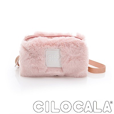 CILOCALA 限量版-亮彩尼龍毛毛防潑水方包 粉色