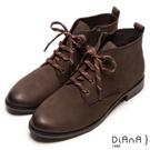 DIANA 工藝精湛—率性風靡擦色綁帶工程短靴-咖