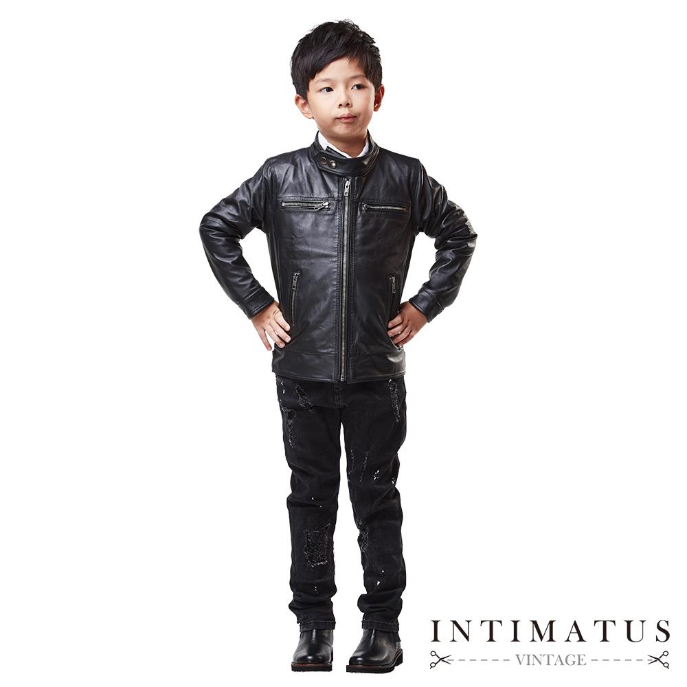 INTIMATUS 真皮 小立領皮衣 男童裝 帥氣黑色