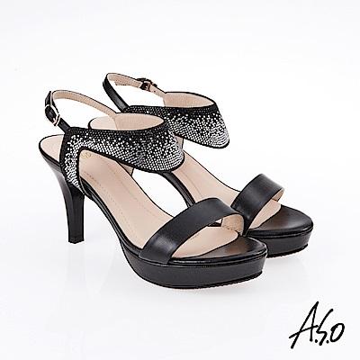 A.S.O 炫麗魅惑 漸層水鑽奈米高跟鞋 黑色