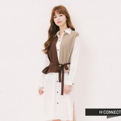 H:CONNECT 韓國品牌 女裝 - 假兩件式排扣襯衫洋裝 - 咖啡色