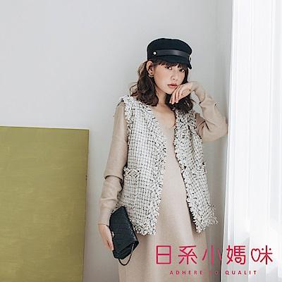 日系小媽咪孕婦裝-孕婦裝 多彩礦石釦小香風背心外套