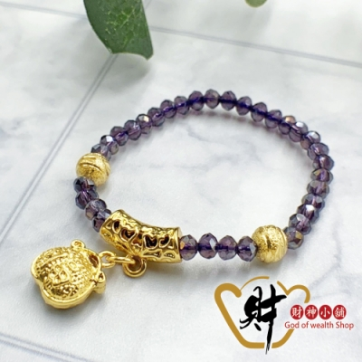 財神小舖 平安寶寶 金福氣手鍊-紫 (含開光) BABY-3002