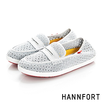 HANNFORT CALIFORNIA編織帆船鞋-女-雲霧灰