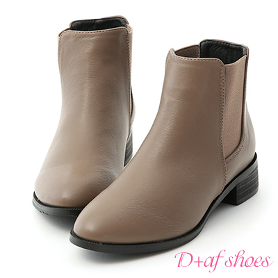 D+AF 型人必備.鬆緊帶拼接低跟短靴*灰棕