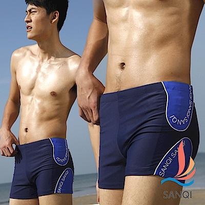 SANQI三奇 海洋調調 平口短版四角泳褲(藍M.L)