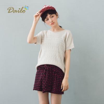 【Dailo】經典提花百搭短袖-針織衫(三色)