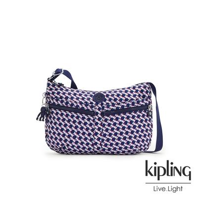 Kipling 典雅幾何印花雙拉鍊前袋肩背包-IZELLAH